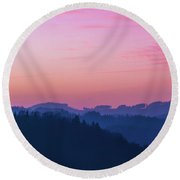 Quartz Sunset Sky Over Blue Ridges Of Mountains Round Beach Towel
