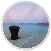 Round Beach Towel featuring the photograph Quay In Dawn by Davor Zerjav