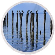 Round Beach Towel featuring the photograph Quay Rest by Stephen Mitchell