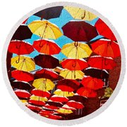 Round Beach Towel featuring the painting Raining Umbrellas by Joan Reese