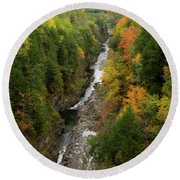 Quechee Gorge Fall Vt Round Beach Towel