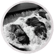 Round Beach Towel featuring the photograph Quechee, Vermont - Falls 2 Bw by Frank Romeo