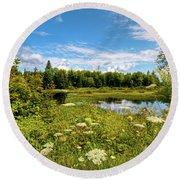 Round Beach Towel featuring the photograph Queen Anne's Lace On The Moose River by David Patterson