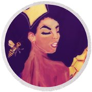 Queen Bee  Round Beach Towel by Miriam Moran