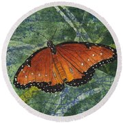 Queen Butterfly Watercolor Batik Round Beach Towel