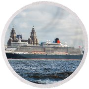 Queen Elizabeth Cruise Ship At Liverpool Round Beach Towel