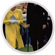 Queen Elizabeth Inspects The Horses Round Beach Towel