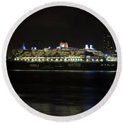 Queen Mary 2 At Night In Liverpool Round Beach Towel