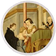 Queen Mary I Curing Subject With Royal Round Beach Towel by Wellcome Images