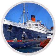 Round Beach Towel featuring the photograph Queen Mary Ship by Mariola Bitner