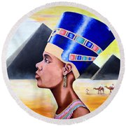 Queen Nefertiti Round Beach Towel