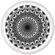Queen Of Hearts King Of Diamonds Mandala Round Beach Towel