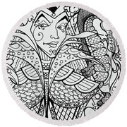 Round Beach Towel featuring the drawing Queen Of Spades Close Up With Dragon by Jani Freimann