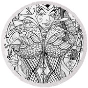 Queen Of Spades  Round Beach Towel