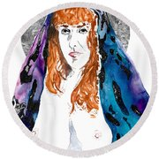 Queen Sof The Universe  Round Beach Towel
