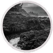 Queens Bath Kauai Round Beach Towel