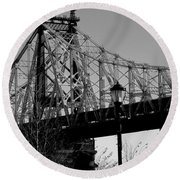 Round Beach Towel featuring the photograph Queensboro Bridge  by John Harding