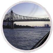 Queensboro Bridge - Manhattan Round Beach Towel