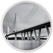 Queensferry Crossing Bridge Mono Round Beach Towel
