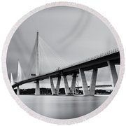 Queensferry Crissing Bridge Mono Round Beach Towel