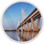 Queensferry Crossing Portrait Round Beach Towel