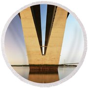 Under The Queensferry Crossing Bridge Round Beach Towel