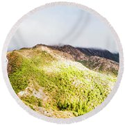 Queenstown Tasmania Wide Mountain Landscape Round Beach Towel