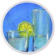 Round Beach Towel featuring the painting Quench by Nancy Merkle