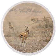 Round Beach Towel featuring the painting Quick Run by Alan M Hunt