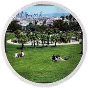Round Beach Towel featuring the photograph Quiet At #doloresgaybeach by Mr Photojimsf