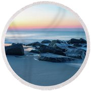 Quiet Beach Haven Morning Round Beach Towel
