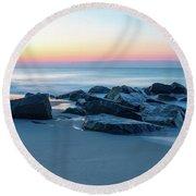 Quiet Beach Haven Morning Round Beach Towel