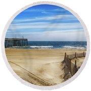 Quiet Day On The Beach Round Beach Towel