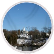 Quiet Harbor Round Beach Towel