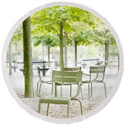 Quiet Moment At Jardin Luxembourg Round Beach Towel