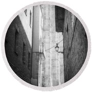 Quiet Moment Near Barcelona Cathedral, B/w Round Beach Towel