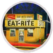 Quiet Night At Eat Rite Diner Round Beach Towel