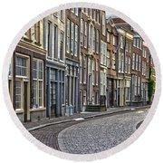 Quiet Street In Dordrecht Round Beach Towel