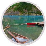 Moraine Lake I, Alberta Round Beach Towel