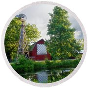Quilt Barn And Windmill At Bonneyville Mill Round Beach Towel