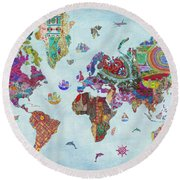 Quilted World Map Round Beach Towel