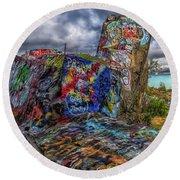Quincy Quarries Graffiti Round Beach Towel by Brian MacLean