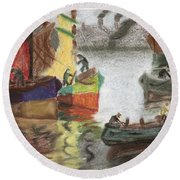 La Boca Caminito Round Beach Towel by Silvia Bruno