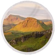 Quiraing Panorama Round Beach Towel