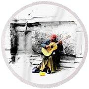 Quito Street Musician II Round Beach Towel