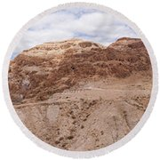 Round Beach Towel featuring the photograph Qumran National Park by Yoel Koskas
