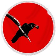 Quoth The Raven Nevermore . Red Round Beach Towel