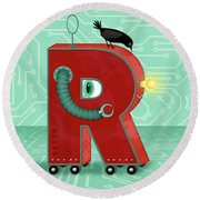 R Is For Robot Round Beach Towel