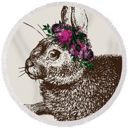 Rabbit And Roses Round Beach Towel