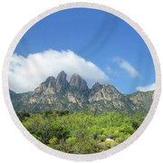 Round Beach Towel featuring the photograph  Organ Mountains Rabbit Ears by Jack Pumphrey